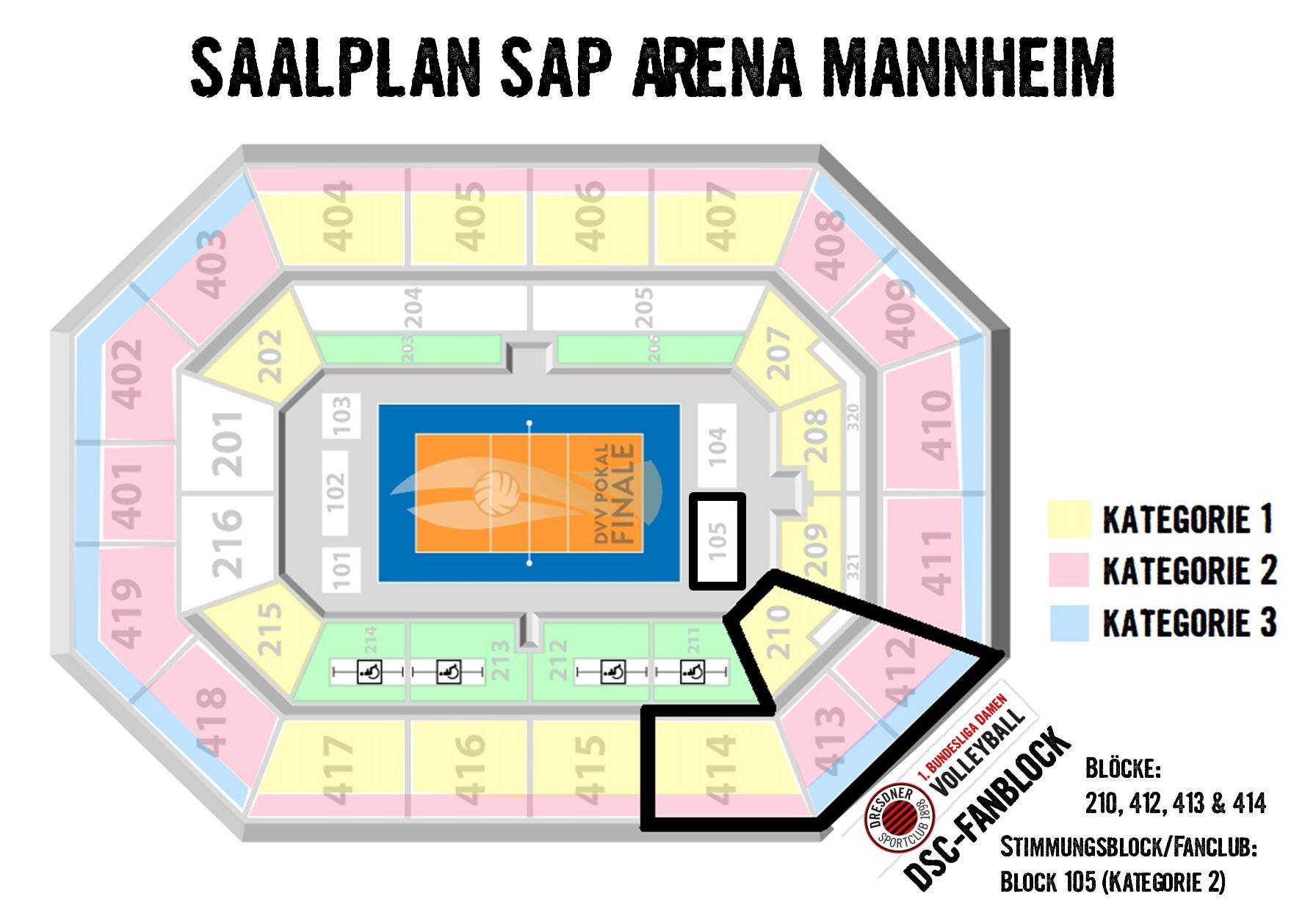 Saalplan der SAP Arena Mannheim mit DSC-Fanblock